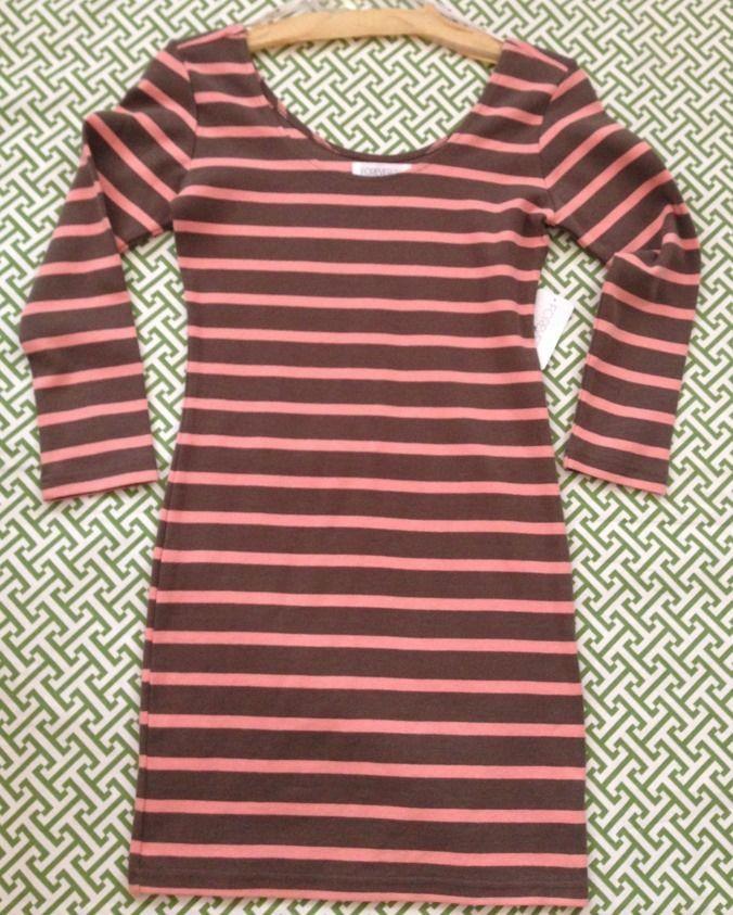 Brown & Coral Bodycon Stripe Dress ~ sz S ~ BNWT ~ Preppy Nautical 3/4 Sleeve   | eBay