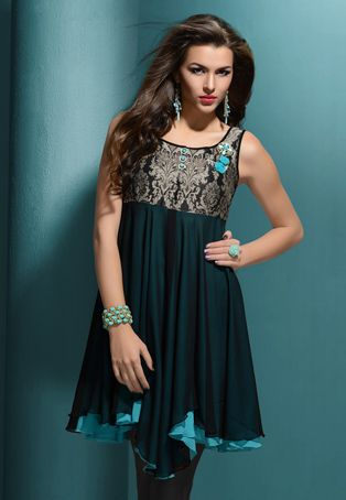 Love this!!!       Black and blue faux georgette readymade tunic designed with beads.
