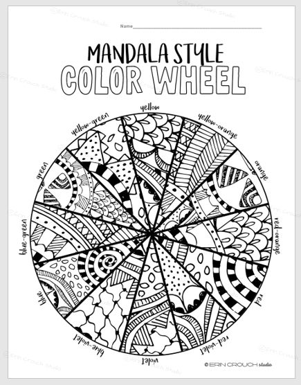 Mandala Fashion Shade Wheel Worksheet Follow for Center/Excessive Faculty