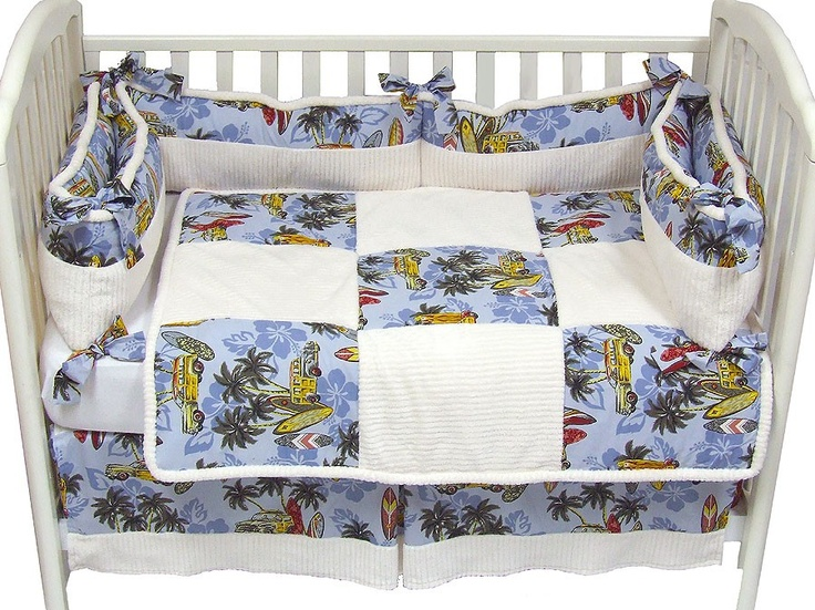 Vintage surf nursery baby bedding ordered this crib for Surf nursery ideas