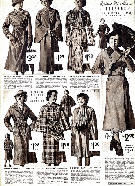 Wearing History Blog | Keeping Warm in the 1930s: Rain and Snow. Catalog image from 1937-1938. [My favorite is the plaid raincoat with the cape! That looks so practical and cute.]