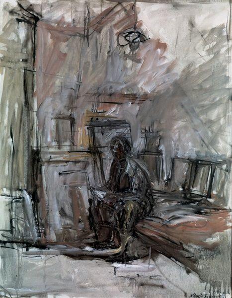 Giacometti sketch: Sitzende Figur im Atelier 1955
