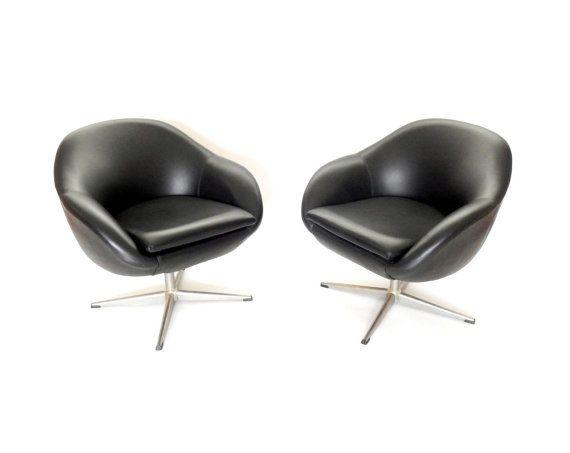 Milieu de siècle Overman Pod Chair pivotant rétro noir Lounge chaise moderne oeuf moderne fauteuil chaise meubles suédois atomique Eames Era...