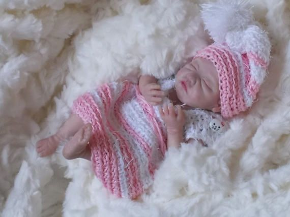 Beautiful mini baby girl from polymer clay Ooak unique