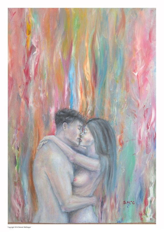 Nude figure painting lovers kissing man and woman art lovers  embrace  surreal couple man and woman print passion couple figure art