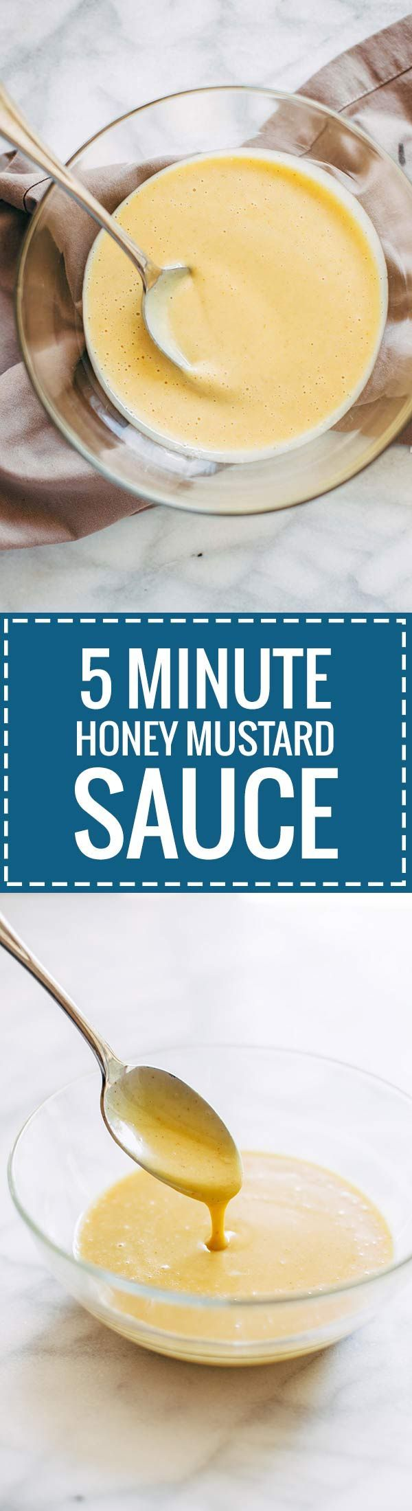 5 Minute Honey Mustard Sauce - just 5 ingredients to this dipping sauce that can double as a dressing! | pinchofyum.com