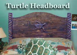 Custom Wood Headboard with SeaTurtle theme---very very cute, love the turtle