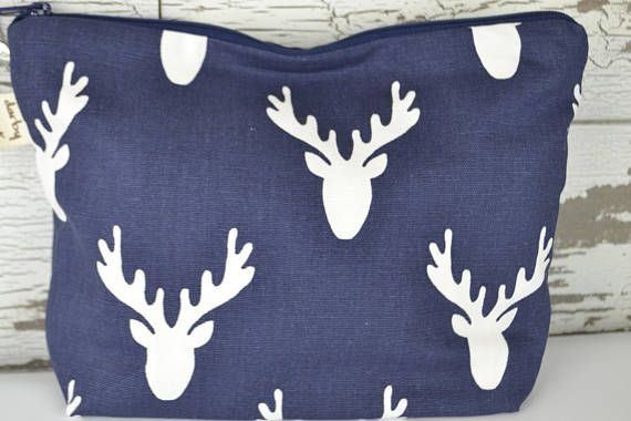 Make Up Bag zipper Pouch Navy blue and White Deer Antlers