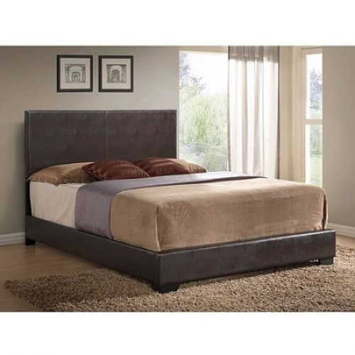 Upholstered Queen Brown Faux Leather Bed Frame Headboard Double Full Platform #UpholsteredQueenBrown