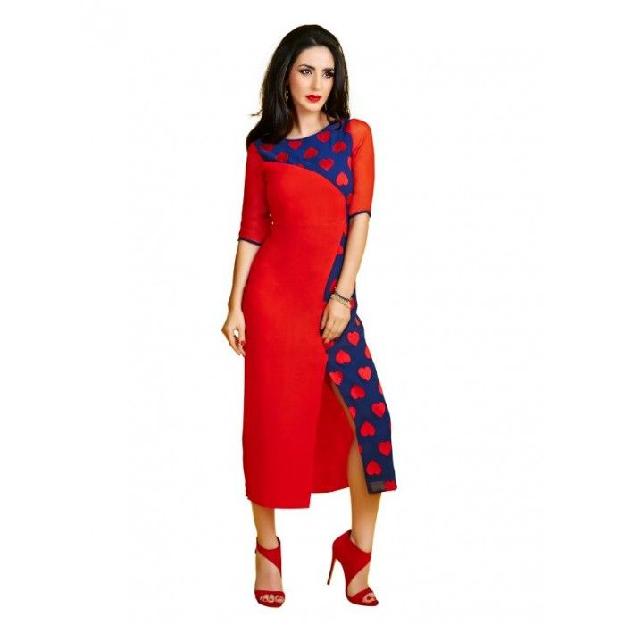 Navy Blue & Red and Georgette Kurti