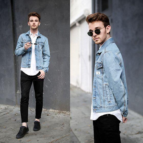 Drew Scott - Calvin Klein Denim Jacket, Asos White Button Down, Acne Studios Black Dropped Denim, Ray Ban Round Sunnies, Zara Black Sneakers - Baby Blue