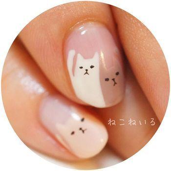 猫好きの方におススメ☆つんとした表情の猫ちゃんがたまらない!目が合うたびにくすっと笑える、ほっこりネイル。