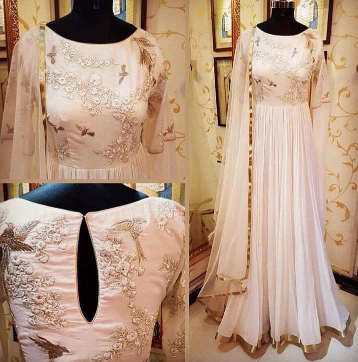 Indian Simple Dress/Anarkali | LighPink w/Foral Details | Perfect for BrideMaids
