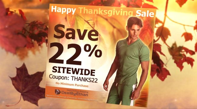 http://www.dealbyethan.com | DealByEthan's Pre-Thanksgiving Special | 26 November 2014 | HAPPY THANKSGIVING! Save a further 22% sitewide. No minimum purchase. Use coupon THANKS22 at http://www.dealbyethan.com to redeem specials savings.