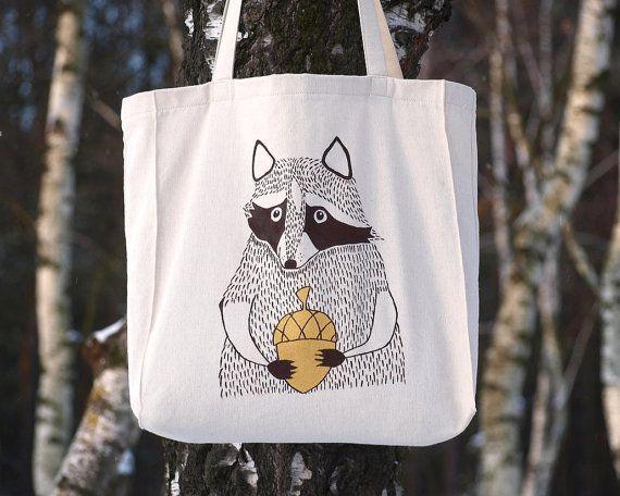 raccoon tote bag raccoon painting raccoon gifts by tsomoriri