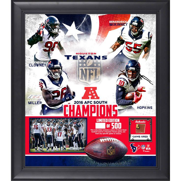 "Houston Texans Fanatics Authentic Framed 15"" x 17"" 2016 AFC South Champions Collage with a Piece of Game-Used Football - $89.99"