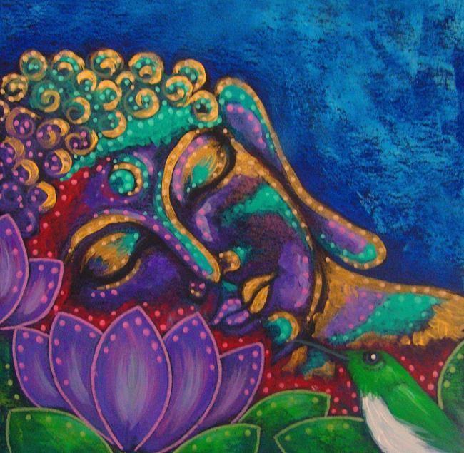 BUDDHA IN MY GARDEN AND A HUMMINGBIRD - Cyra R. Cancel