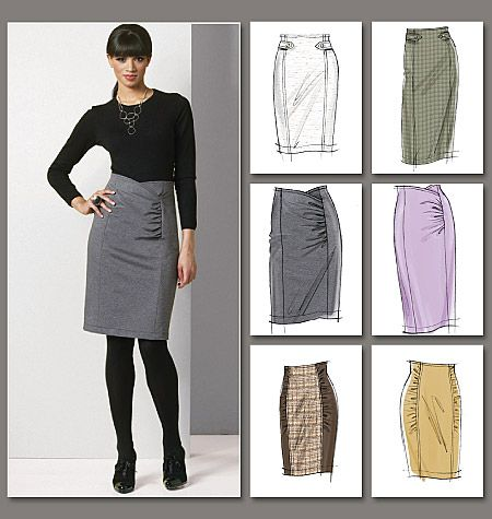 V8672 Rouched pencil skirts.