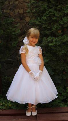 Vestido de niña de las flores de encaje blanco - encaje gasa primera comunión bautizo fiesta de Dama de honor campesino de encaje blanco de Gasa de la boda