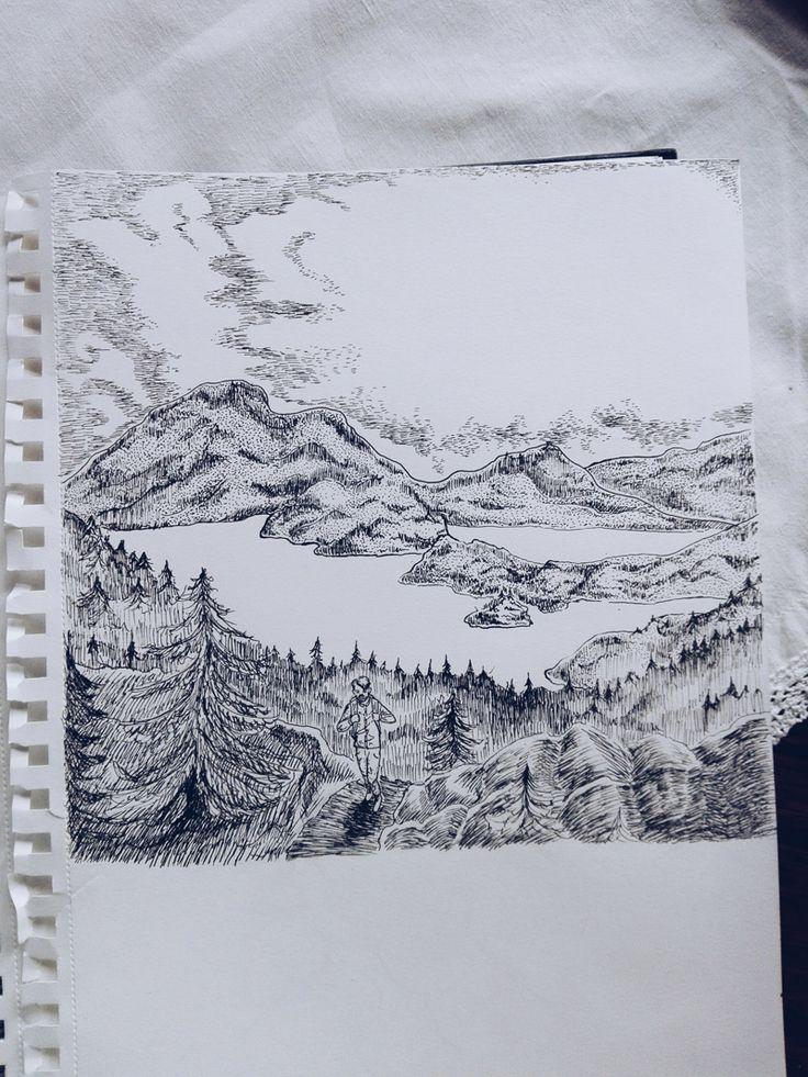 sketchbook ink illustration nature landscape norway BLOMSTRANDE | Blomstrande personer – Fanny Storlund | http://blomstrande.com