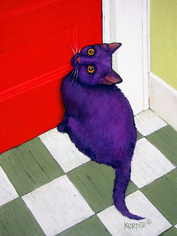 Cat Wanting Out - Funny Purple Cat Red Door Glicee Print from original painting Korpita via Etsy.