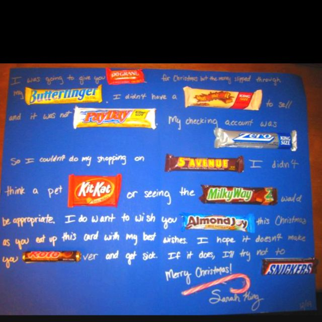 Christmas candy bar card