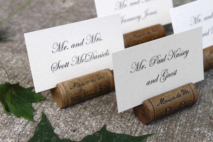 Wine Cork Place Card or Photo Holder - Set of 10. $30.00, via Etsy.