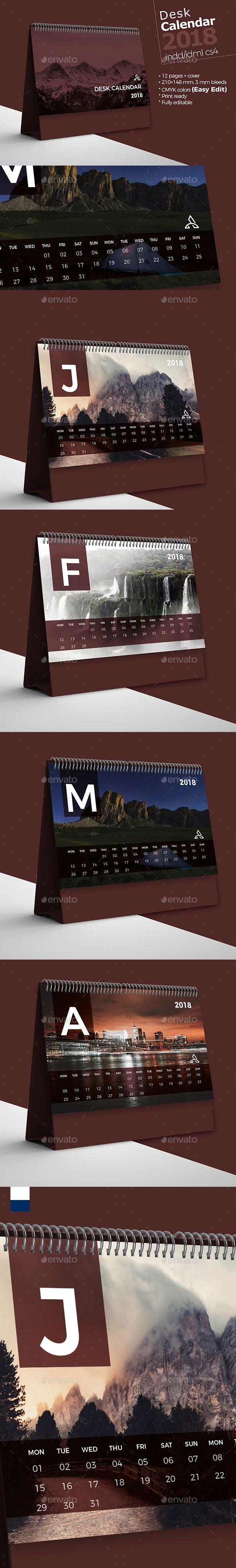 Desk Calendar 2018 — InDesign INDD #notes • Available here ➝ https://graphicriver.net/item/desk-calendar-2018/21023772?ref=pxcr