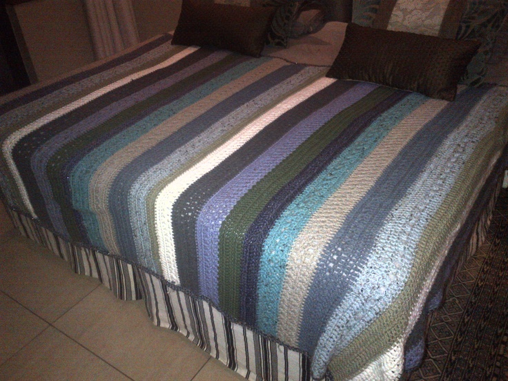 My first real crochet project, made a blanket for my bed size 1500 x 2200  Love it !