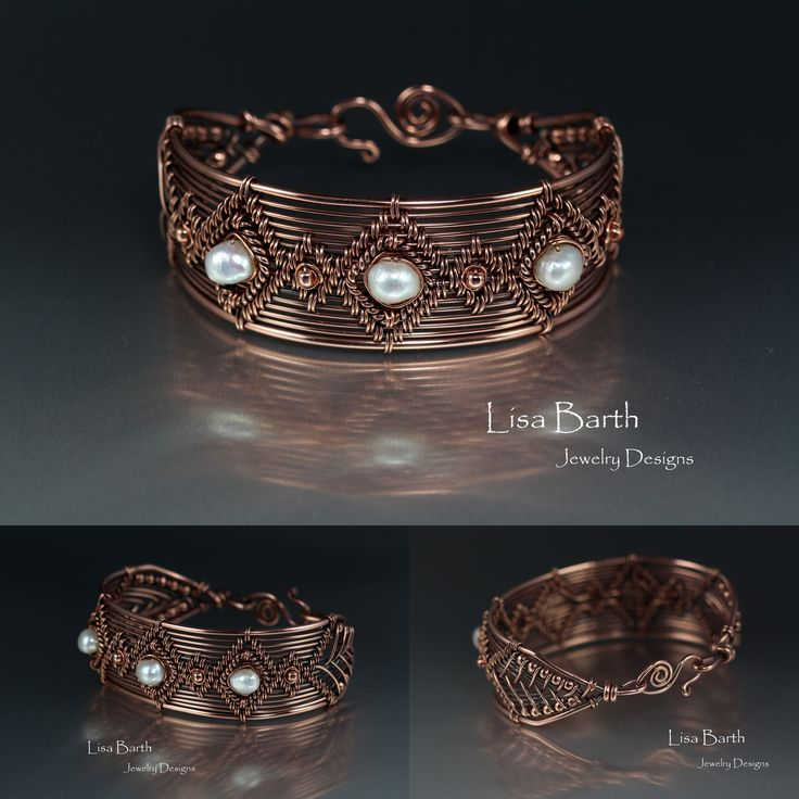 Here\'s a hand woven bracelet, in copper with baroque, cultured ...