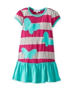 67% OFF Tilly & Jax Girl's Sadie Ruffle Hem Dress (Heather Grey/Fuchsia Stripe)