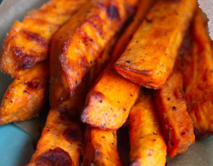 truly Crispy (yet healthy) Sweet Potato Fries. Given that I make these at least once a week, this recipe sounds like a winner! Trying it tomorrow for the potluck.