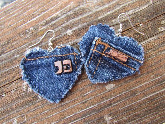 Upcycled Joe's Jeans Earrings by daringmisslassiter