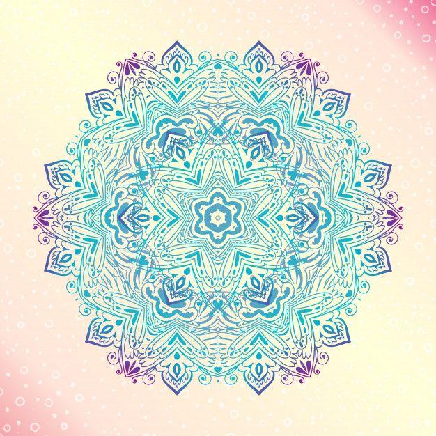 Mandala. Runder Amulett Tätowierung der Blumenweinlese Premium Vektoren