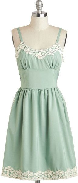 Adorable little mint dress. I once had a similar dress in lavendar that I bought at a Goodwill store. It didn't quite fit, but it was just so lovely that I had to have it. ~lvt
