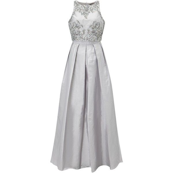Adrianna Papell Halter Neck Two Piece Taffeta Beaded Gown, Silver (1.815 RON) ❤ liked on Polyvore featuring dresses, gowns, evening gowns, halter maxi dress, long-sleeve mini dress, evening dresses and silver evening gowns