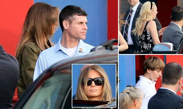 In a family outing, Melania took the two youngest Trump children, Tiffany and Barron, to an upscale bowling alley in New York City on Monday afternoon.