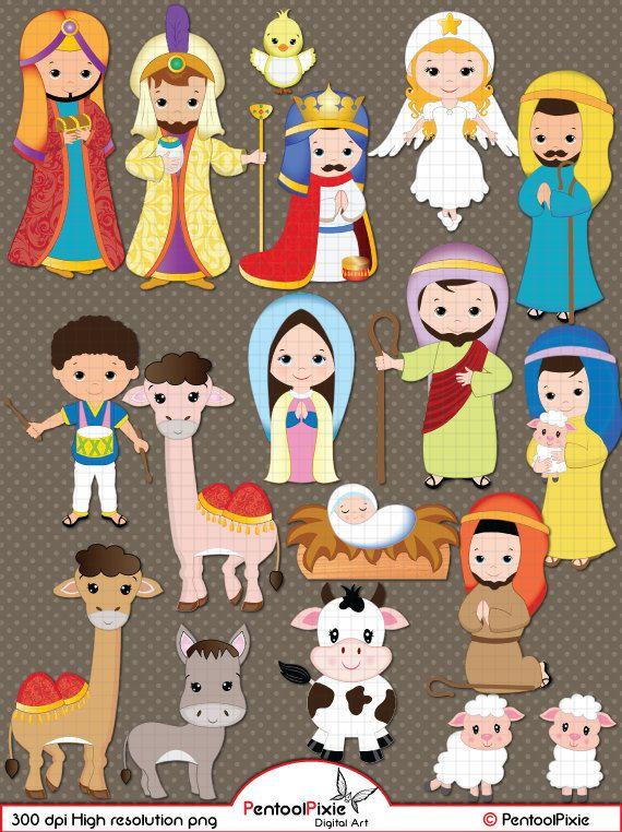Nativity clipart Cristmas clipart Jesus Mary by PentoolPixie