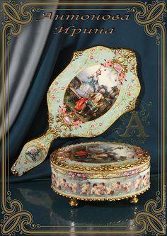 """Набор для туалетного столика-""""Императрица"""" - бирюзовый,набор,для бижутерии"""