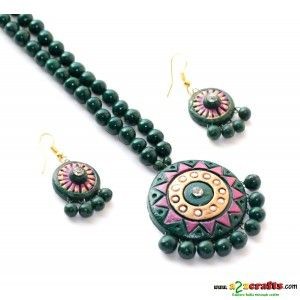 Terracotta Jewellery -Green round - Terracotta Jewelry - Rs 335 - Hand Made Crafts - Buy & Sell Indian Handmade Crafts and Handmade Jewelry and Gifts