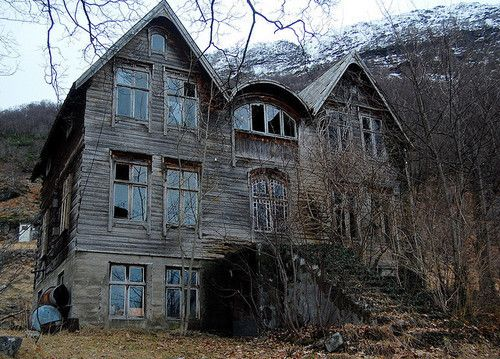 A delapidated old house isolated from society surrounded by trees. I had a vision of a house and when I saw this, it filled in all the blanks.