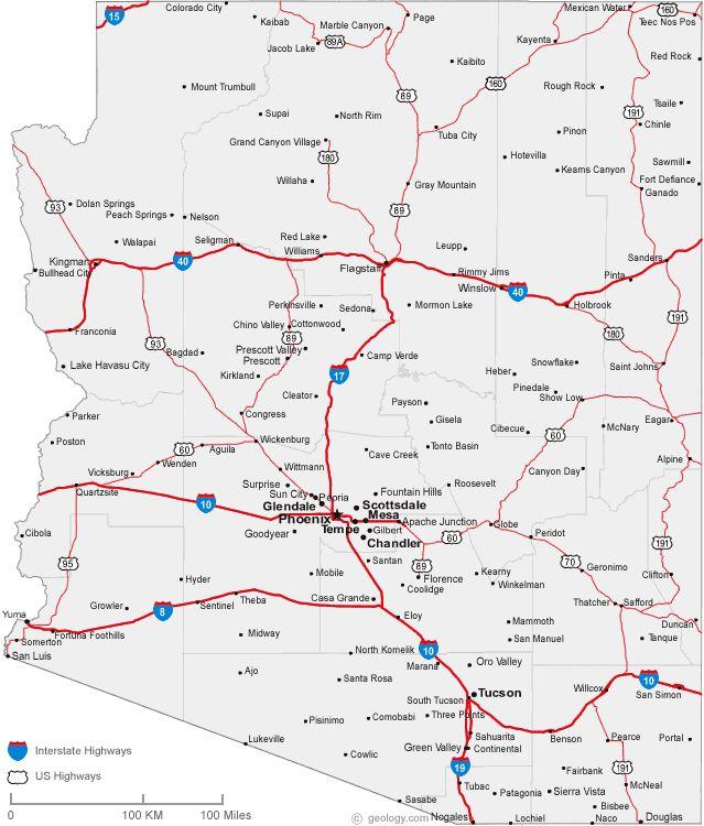 map of Arizona cities