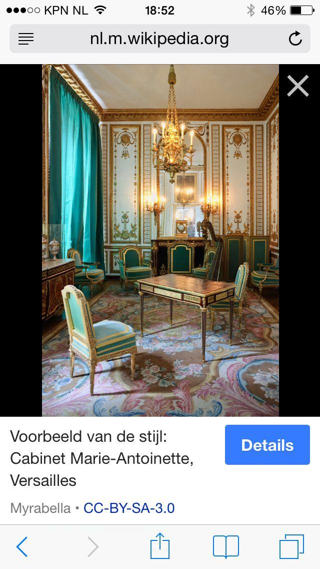 Cabinet Marie-Antoinette, 18e eeuw, kenmerken: gedetailleerd en versierd meubilair, behang in klassieke stijl wat betreft kleuren en vormen en de vormgeving van de versieringen is afgeleid van Griekse en Romeinse motieven