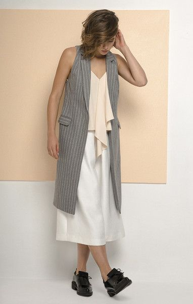 the days vest - pinstripe by cameo available in xs, s, m, l