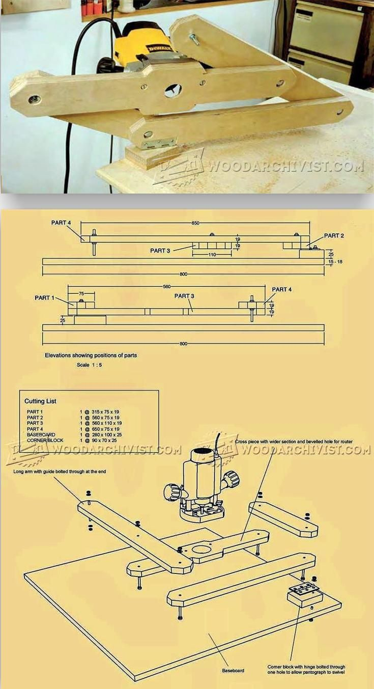Router Pantograph Plans - Router Tips, Jigs and Fixtures | WoodArchivist.com