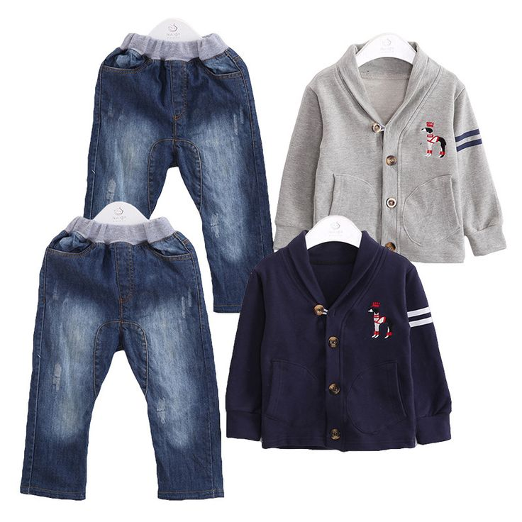 Anlencool 2017 new Korean wave spring models boy suit lining opening paragraph Male baby sporty two - pieces denim clothing