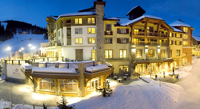 Delta Sun Peaks Resort in Sun Peaks, Canada. The resort is part of Sun Peaks' alpine village with shops and dining.