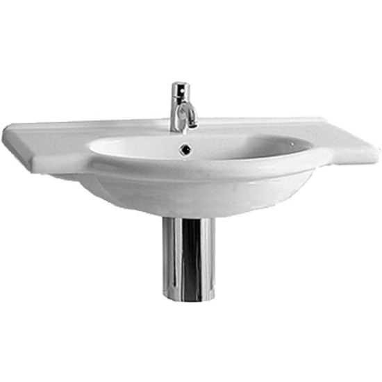 China vanity basins or bathroom vanity sinks with a chrome overflow. Unit may be installed as a wall mount basin or a semi-recessed basin.
