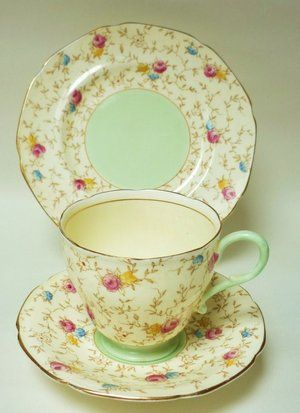 paragon english vintage china tea set trio - green and floral