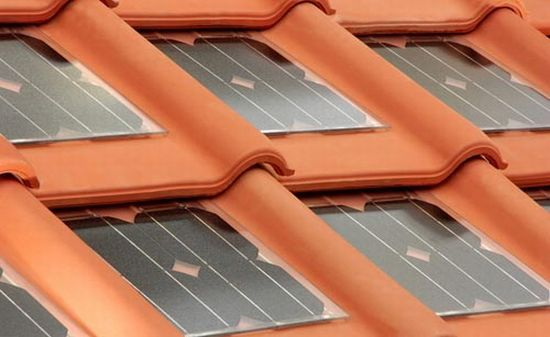 This Italian company has developed red clay tiles that look like traditional terracotta tiles, but here they are incorporated with solar panels.